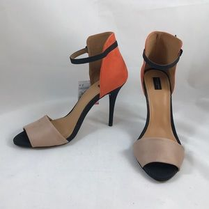 NWT Zara Collection orange, black & tan stilettos